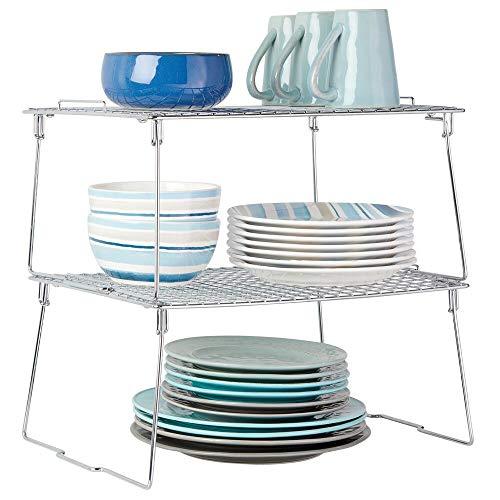 MDesign Juego de 2 estantes apilables para almacenaje de cocina - Repisa metálica de cocina con patas...