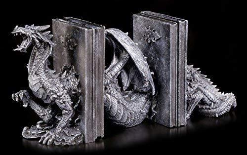 Gothic Buchstütze mit geschlängeltem Drachen | Fantasy Deko Figur -