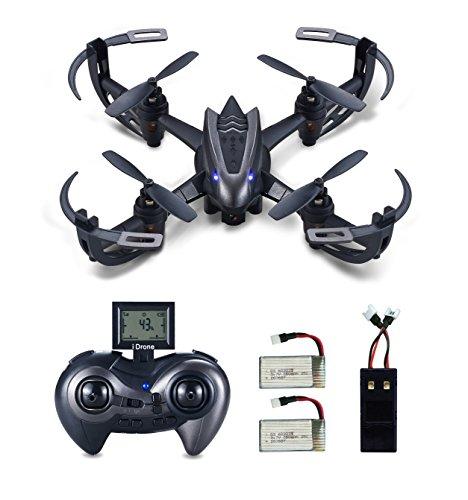 Hasakee RC Quadcopter Drohne mit 720P HD kamera,3D-Flip,kopflos - modus,Bonus Batterie und 2 in 1 Ladegerät,2.4 GHz 6-Achsen-Gyro am besten für Anfänger