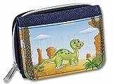 Advanta Denim Geldbeutel für Kinder, Dinosaurier-Motiv, 13 cm, Denim Blau