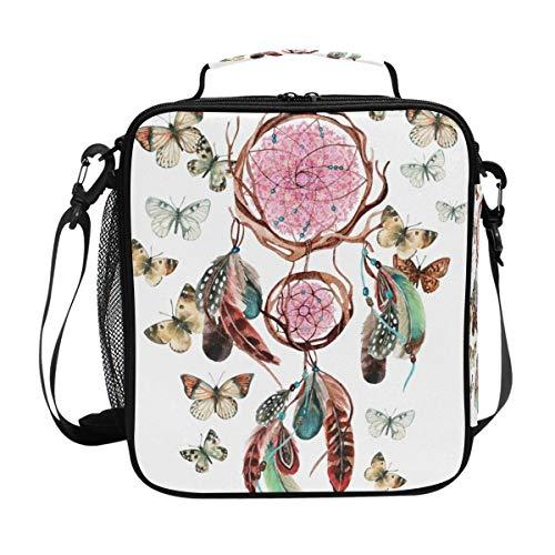DOSHINE Bolsa de almuerzo aislada atrapasueños, plumas, mariposa, boho, con cremallera, bolsa de almuerzo para hombres, mujeres, niños, niñas, adultos