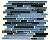 Laguna Blue Random Pattern Glass Tile & Granite Tile; Color: Black & Blue Glass with Blue Pearl Granite by Marble 'n things