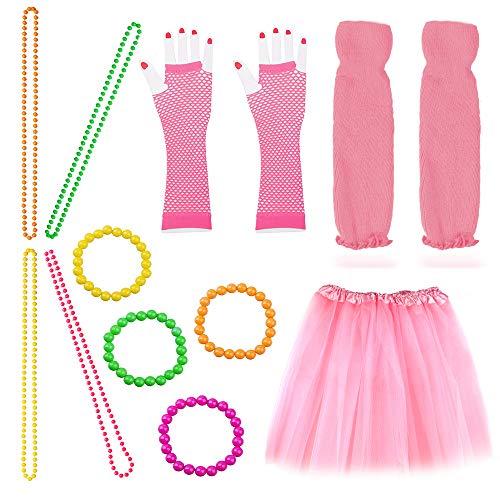 Beelittle Frauen 80er Jahre Outfit Outfit Kostüm Zubehör Set (13-pink)