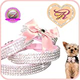 XXS Schleife Center O-Ring Rosa Chihuahua Strass Halsband Hunde Halsband
