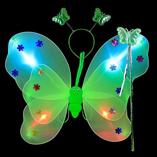 Kostüm Set Kreativer Schmetterlingsleuchtender Flügel mit Stab Stirnband ()