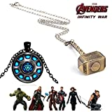 #7: 2 Pc AVENGER SET - THOR HAMMER - GOLD COLOUR & IRONMAN ARC REACTOR BLACK METAL 3D GLASS DOME IMPORTED METAL PENDANTS WITH CHAIN ❤ LATEST ARRIVALS - RINGS, KEYCHAINS, BRACELET & T SHIRT - CAPTAIN AMERICA - AVENGERS - MARVEL - SHIELD - IRONMAN - HULK - THOR - X MEN - DC - BATMAN - SUPERMAN - SPIDERMAN - DEADPOOL - FLASH - WONDER WOMAN - BLACK PANTHER - DOCTOR STRANGE - THANOS -STARLORD - GAMORA - DRAX - ROCKET - GROOT - MANTIS - WAR MACHINE - VISION - SUPER HERO ❤