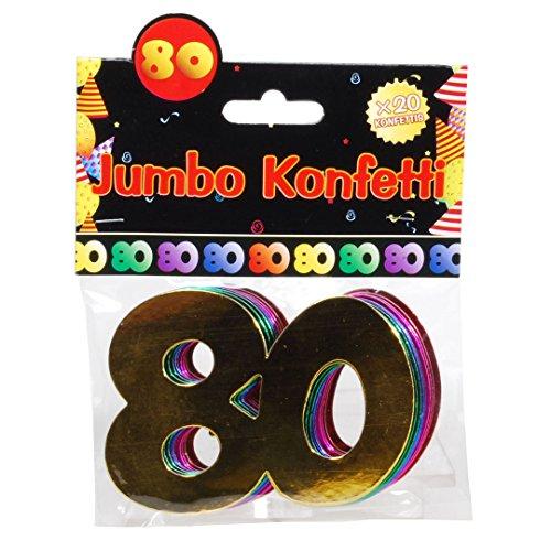 "Jumbo Zahlen Konfetti ""80"" Geburtstag Dekoration Party Tischdeko bunt"