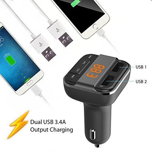 perbeat Bluetooth FM Transmitter Auto mit 2USB Ladekabel 3,4A Ausgang Anschlüsse, unterstützt USB-Stick Micro SD Karte mit Musik-Fernbedienung (schwarz) - 3