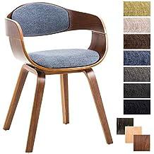 CLP Chaise Design Retro Kingston Tissu I De Salle A Manger Scandinave Accoudoir Ergonomique