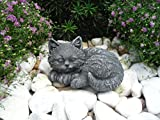 Steinfigur Katze mini, Gartenfigur Steinguss Tierfigur Basaltgrau