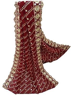 Indio Étnico Dupatta Georgette Tela Mujeres Diseñador Mantón Granate Bollywood Vendimia Larga Estola