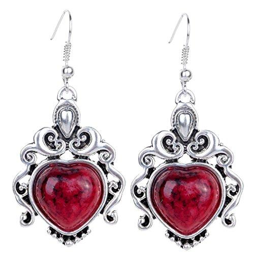 Yazilind Vintage tibetana Corazón Rojo Plata Turquesa araña cuelga gota de los pendientes del gancho Mujeres de regalo
