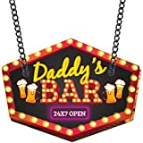 YaYa cafe MDF Wood Daddy Bar Open 24x7 Wall Door Hanging for Dad, 11x13inch(Brown/Ochre)