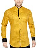 Globalrang Men'S Cotton Casual Polka Printed Stand Collar Shirt (Small)