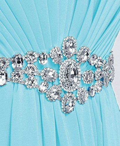 Fashion Plaza chiffon lange Trägerlosen Abendkleid mit einer schönen Gürtel Modul D004 Hellblau
