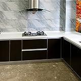 KINLO Folie Küche Schwarz 61x500cm aus hochwertigem PVC Aufkleber für Schrank Tapeten Küche Klebefolie Möbel wasserfest selbstklebende Folie Küchenschrank Küchenfolie Dekofolie 2 Jahren Garantie