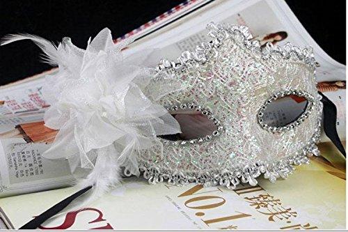 EQLEF® Spitze Kristall Cosplay Roman griechischen venezianischen Halloween Costume Party Maskerade Maske (Weiße Masken Spitze Maskerade)