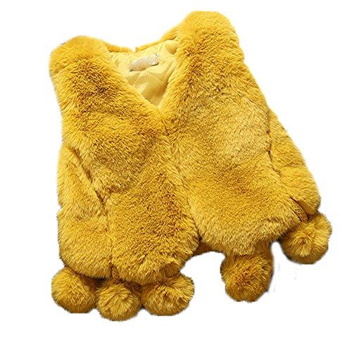 FOLOBE Kinder Herbst und Winter Faux Fell Vests Kids New Pelz Imitation Fox Haar Gilets Mäntel für Mädchen und Jungen Fox Trim Mantel