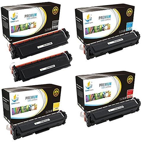 CatchSupplies reemplazo HP 410x Alto Rendimiento cartucho de tóner 5 conjunto de paquete   2 Negro CF410X, cian CF411X, Amarillo CF412X, magenta CF413X   compatible con la impresora HP LaserJet Pro M452dn, M452dw, M452nw, MFP M477