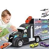 Camión transportador, Coches Juguete para Niños, 10 Coches y 2 helicópteros, Transportador de Automóviles Maletín portacoches