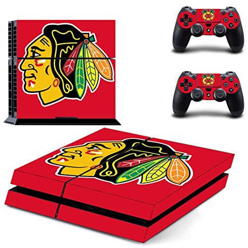 Hambur® Protective Vinyl Skin Decal Cover for Sony PlayStation 4 PS4 Console & Remote DualShock 4 Controller Sticker Skins - Chicago Blackhawks MLB (1 Console Sticker + 2 Controller Stickers) by Hambur -