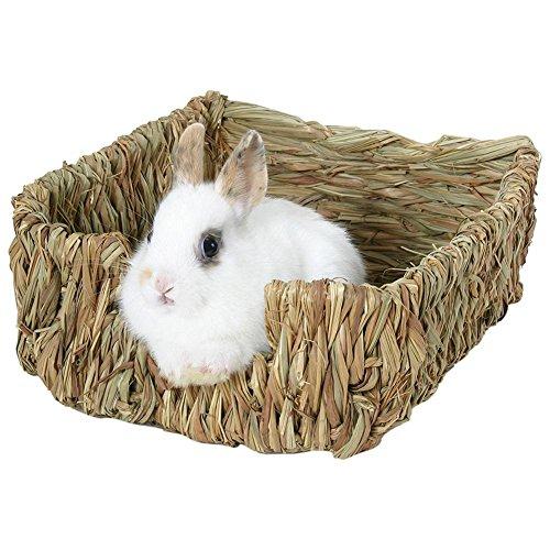 Flower205 coniglio erba letto nido, erba capanna casa paglia erba piccola gabbia nido per conigli