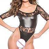 VJGOAL Damen Unterwäsche, Damen Sexy Kunstleder Wet Look Backless Mini Bodysuit Clubwear Kleid Frau Geschenk (One Size, B)