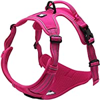 Da Jia Inc Reflective No Pull Dog Harness with Handle Breathable Durable Nylon Pet Vest, Pink XS