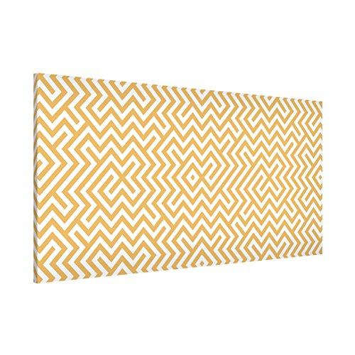 Magnettafel Geometrisches Musterdesign Gelb Memoboard Design Quer Metall Magnet Pinnwand Motiv Wand Stahl Küche Büro, Größe HxB: 37cm x 78cm
