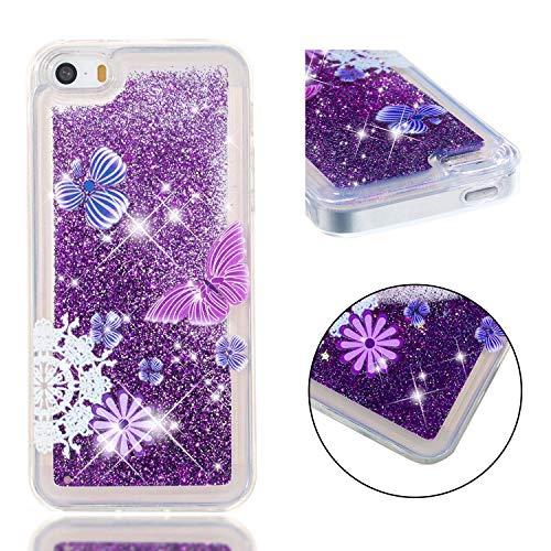 Funluna iPhone SE/5S/5 Hülle, Flüssig Bling Treibsand 3D Fließen Herz Glitzer Case Anti-Rutsch Kratzfest Transparent Silikon Schutzülle Schale für Apple iPhone SE/5S/5 - Lila Schmetterling (Iphone Case 5 Lila Jelly)