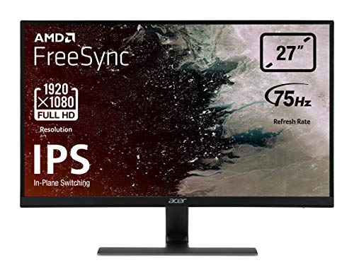 "Acer Nitro RG270bmiix Monitor Gaming FreeSync da 27"", Display IPS Full HD (1920x1080), 75 Hz, Formato 16:9, 250 cd/m², Tempo di Risposta 1 ms (VRB), VGA, 2xHDMI, Audio In/Out, Speaker Integrati"