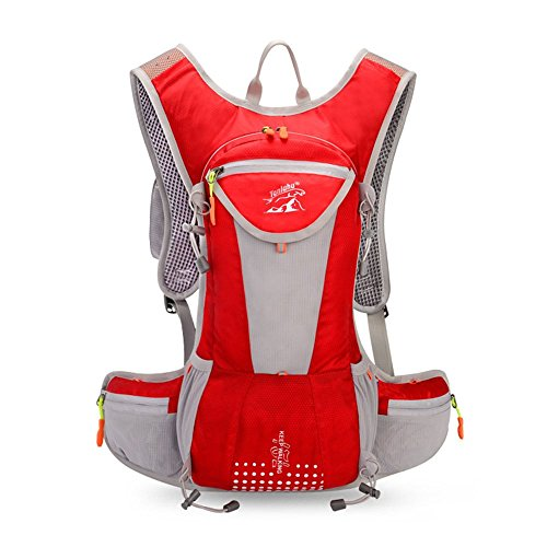 Zoomlie Riding Lightweight Breathable Backpack for Marathon Running Backpack, Kettle Water Bag,22 * 48CM, Capacity 15L, Free Helmet Net Cover, Red