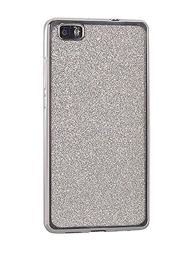 "BACK CASE GLITTER für Apple iPhone 6 4,7"" Apple iPhone 6S Silikonhülle Hülle Etui Flip Cover Silikon Tasche glitzern glänzend mit Brokat (grau) silber"