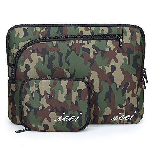 icci ShockProof Sleeve Custodia Borsa con tasche accessorie Per PC portatili 33-33,8 cm (13-13,3 Pollici) MacBook Air / Macbook Pro / Macbook Pro Retina, Chromebook - Camouflage Scuro