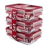 Emsa 3-Teiliges Frischhaltedosenset mit Deckel, Glas, 0,5 Liter, Transparent/Rot, Clip & Close, 517923