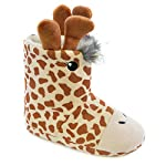 SlumberzzZ Childrens Novelty Giraffe Plush Fleece Bootie Slippers, Cream/Brown, Size UK 11/12