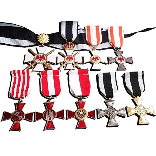 9x Red Eagles, Hanseatic Crosses, Honor Medal & Merit Cross Medals WW1 Repro