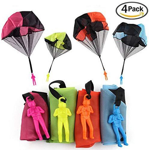 XUNKE Fallschirm Spielzeug, 4 × Kinder Hand werfen Fallschirm Spielzeug,Fallschirmspringer Werfen Outdoor Kinder Partygeschenk
