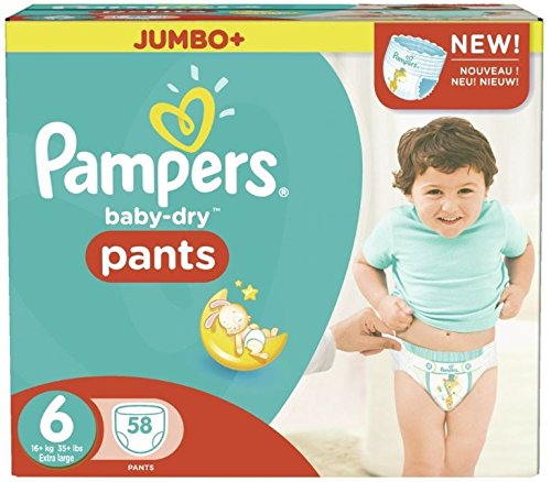 Pampers Baby-Dry Hose Größe 6 Jumbo-Box 58 Windeln