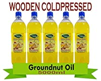 Groundnut Oil 5000ML Virgin Unrefined Wooden Cold Pressed Groundnut Oil/Natural Peanut Oil for Cooking- Heart Health + Cholesterol Free + No Preservatives