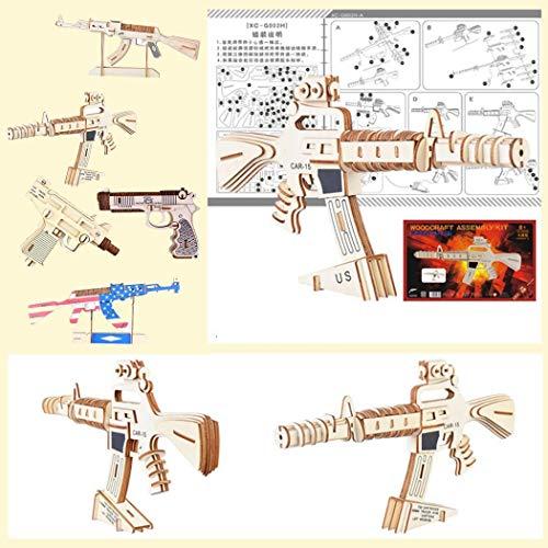 Voiks Woodcraft Baukit 3D Puzzles Holzspielzeug für Kinder Verschiedene Modelle (Revolver Gun) Uzi (Gun Uzi Spielzeug)