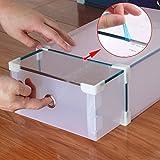 Acelectronic Schuhbox, 10-er Set Clear Plastik Damen Schuhkasten Lagerkasten Boxen,Aufbewahrung Schuhschachtel Schuhe Faltbare Halter,Multifunktional Organiser - 2