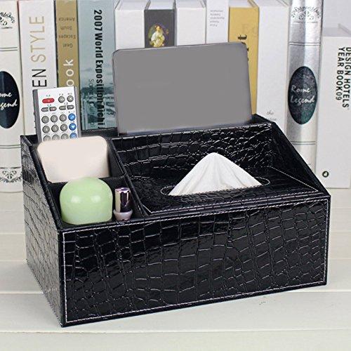 Multifunktionale Leder Schublade Papier Handtuch Box Wohnzimmer Desktop Fernbedienung Aufbewahrungsbox Home, Black Alligator, 29 * 17,5 * 15Cm (Alligator Handtuch)