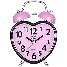 Chycet Despertador, Alarm Clock for kids, Clásico Doble Campana Despertador con Luz de Noche, Reloj de Cuarzo Analógico con Fuerte Alarma. (Rosa)