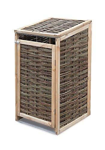 Mülltonnenverkleidung WEIDENPROFI aus Holz mit Weidengeflecht für eine Mülltonne bis 240 Liter