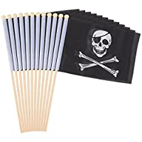 Juvale 12-Piece Stick Flags - Mexican Hand-held Flags, Polyester Country Stick Flag Banners, Decorations for Parties, Parades, Sports Events, and International Festivals- 12 x 8.3 Inches