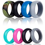 Syourself Silicone Wedding Ring Band - 4 Ring Pack Safe Flexible Comfortable Medical Grade Love Rings Set for Men - Fit for Sports & Outdoors, Workout, Fitness, Athletes, Engineers + Gift Box( E Man 10)