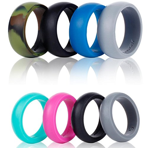 Syourself Silikon Hochzeit Ring Band ¨C 4 Ring Pack Sicher Flexibel Bequem Medical Grade Love Ringe Set F¨¹r Herren Damen ¨C Fit F¨¹r Sport & Outdoor, Workout, Fitness, Sportler, Ingenieure (Space Für Outfits Erwachsene)