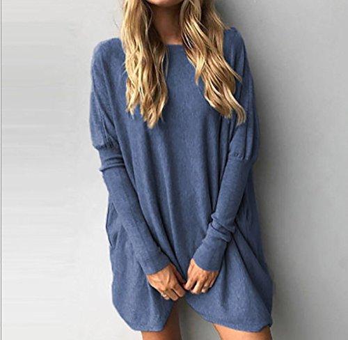 Yidarton Pull Femme Large Top à Manches Longues Tunique Casual Mini Robe Bleu