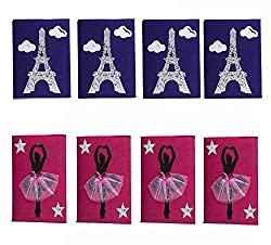 Kanjak Special Felt 4 Purple Eiffel and Pink Ballerina Girl Diary Set of 8